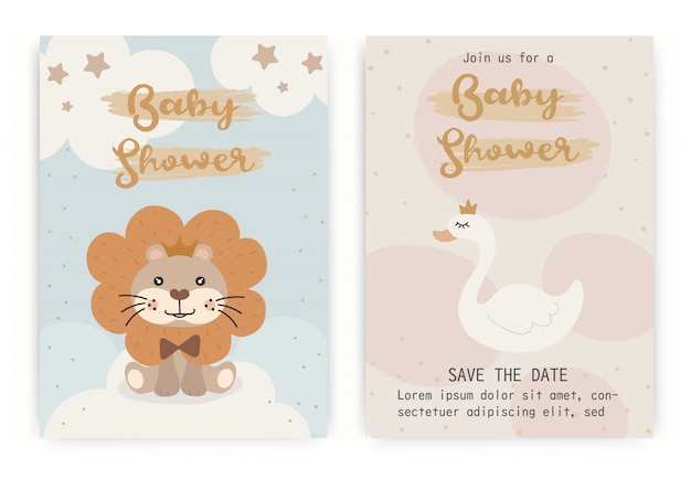 Plantilla de diseño de tarjeta de invitación de baby shower.
