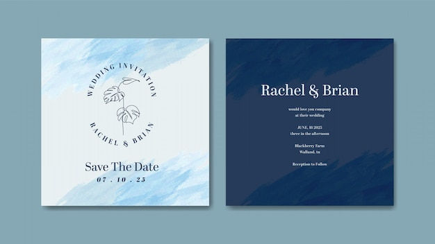 Plantilla de diseño de tarjeta de invitación de boda elegante acuarela