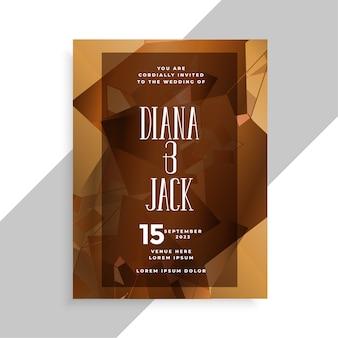 Plantilla de diseño de tarjeta de invitación de boda de estilo abstracto