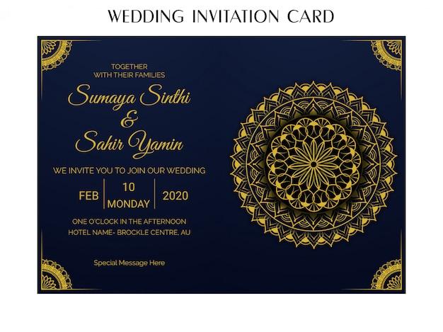 Plantilla de diseño de tarjeta de invitación de boda con estilo dorado mandala de lujo