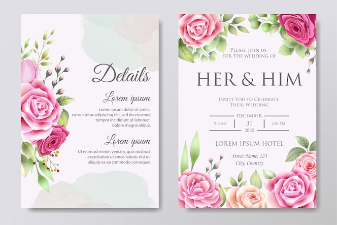 Plantilla de diseño de tarjeta de invitación de boda hermosa