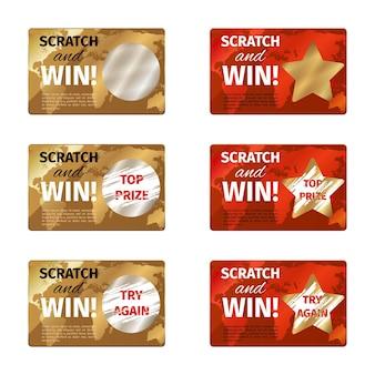 Plantilla de diseño de tarjeta de rascar. premio de lotería, juegos de azar y recompensa, ilustración vectorial