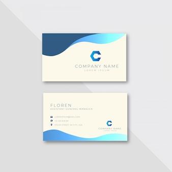 Plantilla de diseño de tarjeta de visita corporativa ondulada