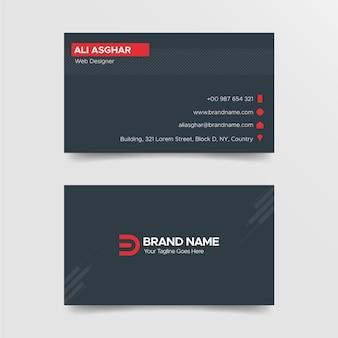 Plantilla de diseño de tarjeta de visita de diseñador moderno rojo y negro