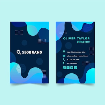 Plantilla de diseño de tarjeta de visita de doble cara vertical seo