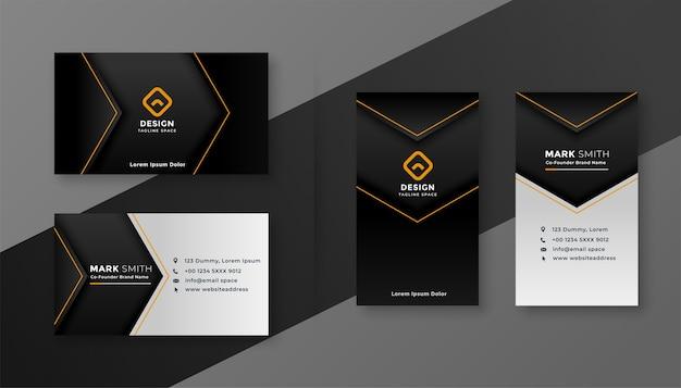 Plantilla de diseño de tarjeta de visita de empresa moderna de tema oscuro