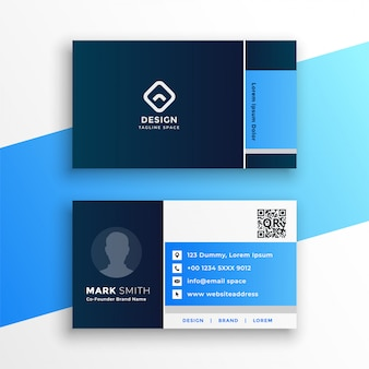 Plantilla de diseño de tarjeta de visita geométrica azul profesional