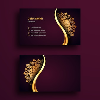 Plantilla de diseño de tarjeta de visita de lujo con fondo ornamental de lujo mandala arabesque