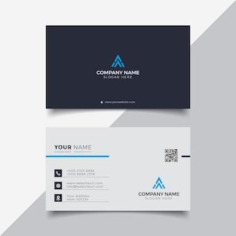 Plantilla de diseño de tarjeta de visita moderna elegante profesional en azul y blanco