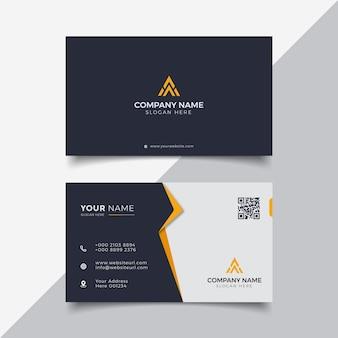 Plantilla de diseño de tarjeta de visita moderna profesional elegante negra y naranja