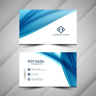 Plantilla de diseño de tarjeta de visita ondulada azul hermosa