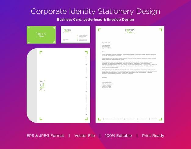 Plantilla de diseño de tarjeta de visita profesional, membrete y sobre