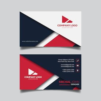 Plantilla de diseño de tarjeta de visita roja abstracta