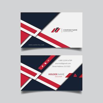 Plantilla de diseño de tarjeta de visita roja geométrica abstracta