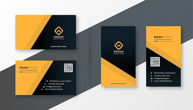 Plantilla de diseño de tarjeta de visita simple amarilla y negra