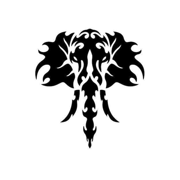 Plantilla diseño tatuaje logotipo elefante tribal ilustración vector plantilla