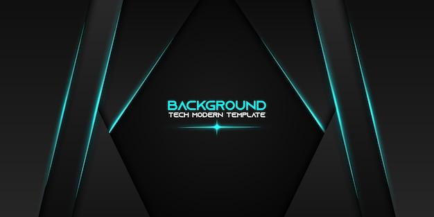 Plantilla de diseño de tecnología moderna de diseño de marco negro azul metálico abstracto