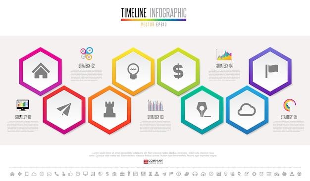 Plantilla de diseño de timeline infographics