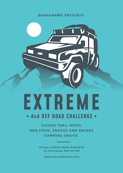 Plantilla de diseño de tipografía moderna de evento de volante o cartel de competencia de camiones todoterreno y coche suv x
