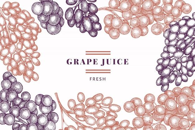 Plantilla de diseño de uva. ilustración de baya de uva vector dibujado a mano. bandera botánica retro estilo grabado.