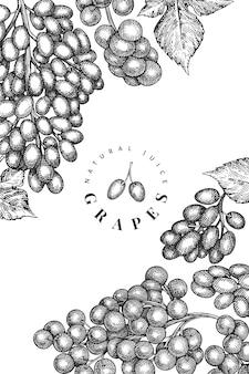 Plantilla de diseño de uva.