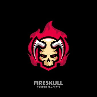 Plantilla de diseño de vector de ilustración de cráneo de fuego
