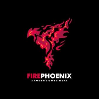 Plantilla de diseño de vector de ilustración de phoenix de fuego