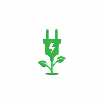 Plantilla de diseño de vector de logotipo de energía verde de crecimiento