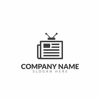 Plantilla de diseño de vector de logotipo de periódico de tv