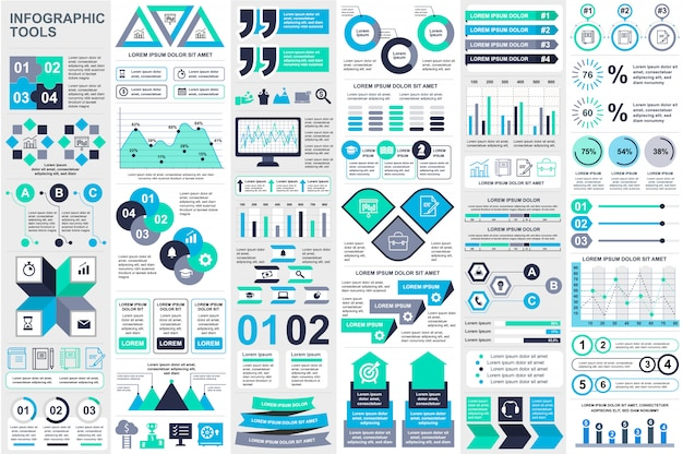 Plantilla de diseño de vector de visualización de datos de elementos de infografía