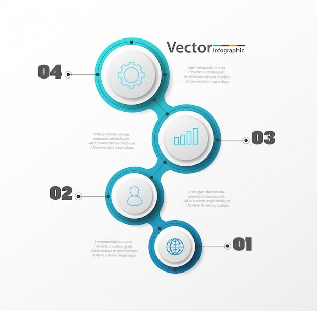 Plantilla de diseño vectorial infografía con iconos y 4 pasos