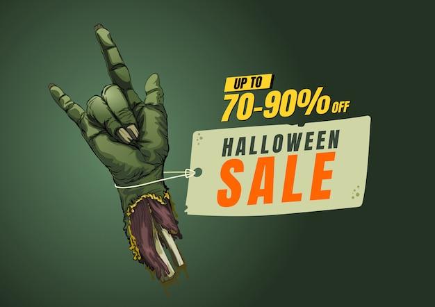 Plantilla de diseño de venta de halloween. etiqueta de banner ilustración vectorial