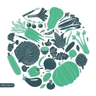 Plantilla de diseño de verduras divertido dibujado a mano.