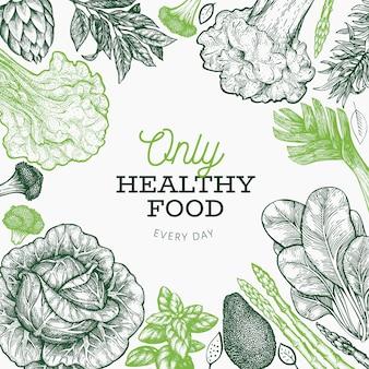 Plantilla de diseño de verduras verdes. dibujado a mano ilustración vectorial de alimentos. grabado estilo vegetal. diseño botánico retro.