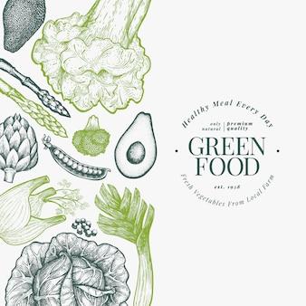 Plantilla de diseño de verduras verdes. ilustración de alimentos vegetales de estilo grabado