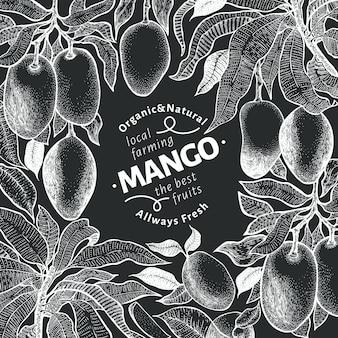 Plantilla de diseño vintage de árbol de mango.