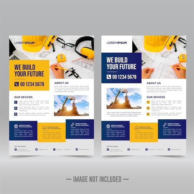 Plantilla de diseño de volante de cartel corporativo de construcción corporativa
