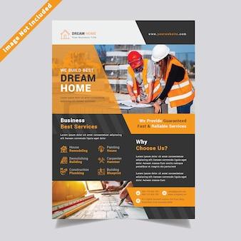 Plantilla de diseño de volante de construcción