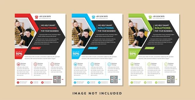 Plantilla de diseño de volante de negocios use medio hexágono para espacio para collage de fotos estilo geométrico abstracto con elemento de flecha