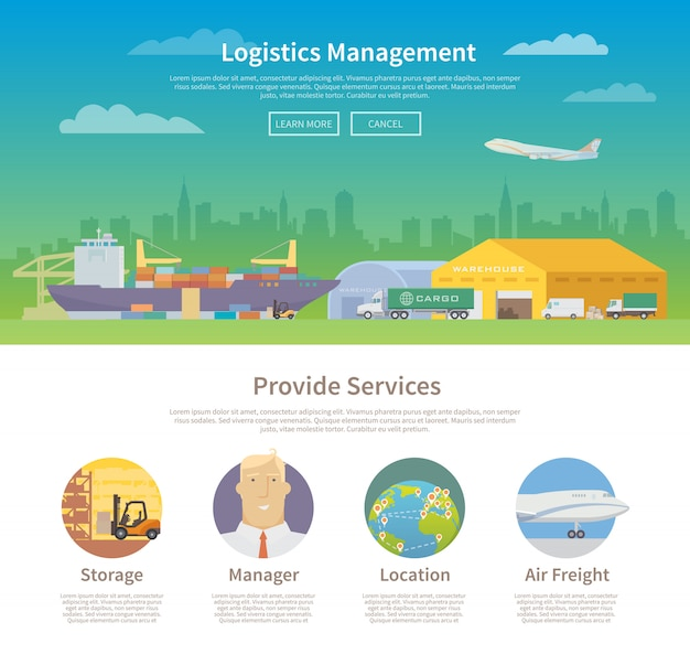 Plantilla de diseño web de una página. logística.