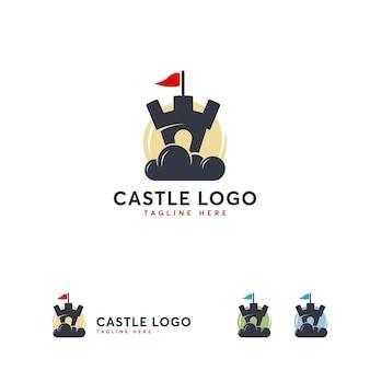 Plantilla de diseños de logotipo de castillo de nube, vector de logotipo de construcción en línea