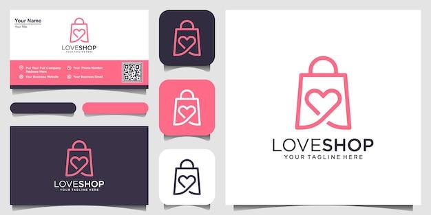 Plantilla de diseños de logotipo love shop, bolso combinado con concepto de corazón.