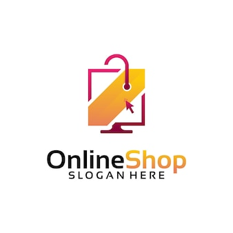 Plantilla de diseños de logotipo de tienda en línea, computadora y logotipo de bolsa de compras ilustración vectorial