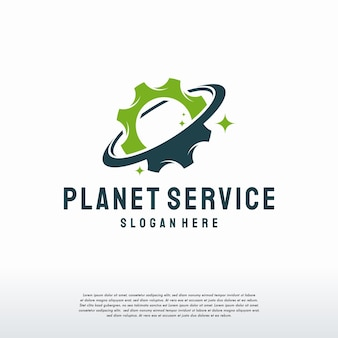 Plantilla de diseños de logotipos de planet service, diseños de vectores de logotipos de planet gear, logotipos de ingeniería mecánica