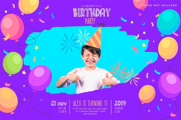 Plantilla divertida de la invitación de la fiesta de cumpleaños