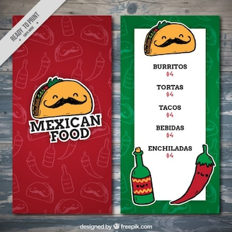 Plantilla divertida de un menú de comida mejicana