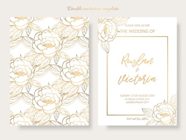 Plantilla de doble invitación de boda con elementos decorativos dorados.