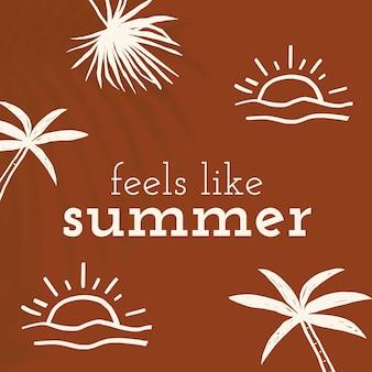 La plantilla de doodle de verano se siente como una publicación de redes sociales de cita de verano