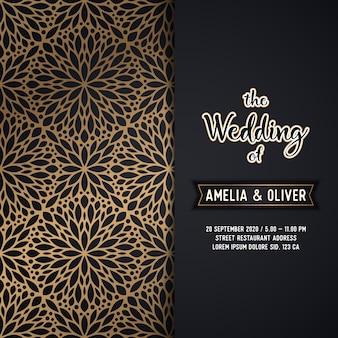 Plantilla dorada de lujo para la boda