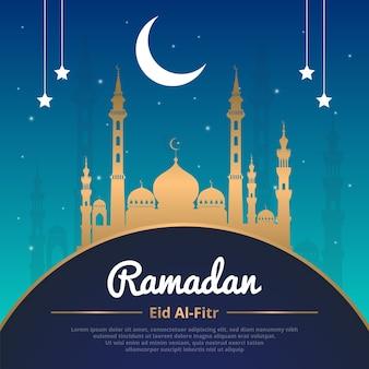 Plantilla dorada de ramadán eid al-fitr